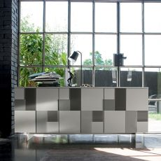 Glass-L - Dall'Agnese sideboard made of metal and veneered wood, different colours available, three doors with decorative tiles in coloured glass