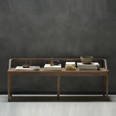 Spindle-B - Ethnicraft bench made of walnut wood