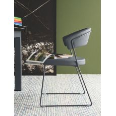 CB1022-LH1 New York - Sedia Connubia - Calligaris in metallo con rivestimento in pelle, diversi colori disponibili
