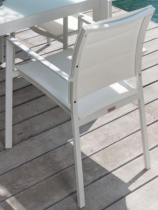 Touch s silla con reposabrazos de aluminio y textilene apilable para jard n sediarreda - Sillon para exterior ...