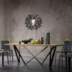 Apollodoro - Table design, fixe 100x200 cm, dotée de piétement en métal et plateau, disponible en différents matériaux et finitions