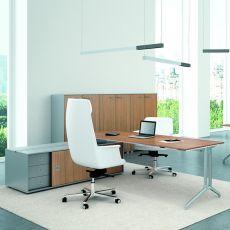 Office X2 01 - Scrivania da ufficio con box operativo bifacciale, in metallo e laminato, disponibile in diverse dimensioni e finiture