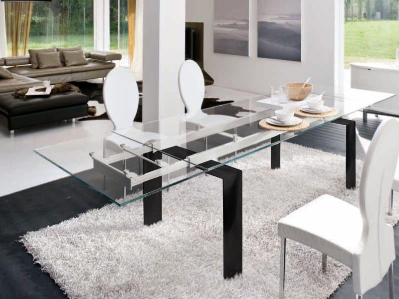 Cannaregio 8017 tavolo tonin casa in alluminio piano in for Tavolo allungabile vetro trasparente
