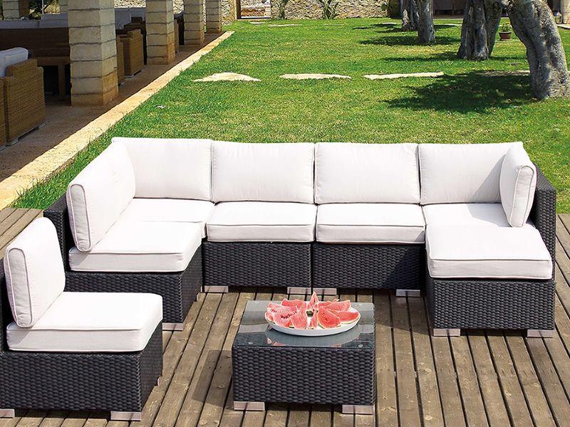 Lambro set set in rattan sintetico per giardino divano - Cuscini da divano ...