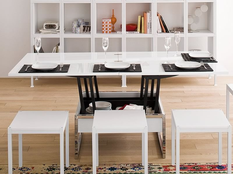 didone q petite table transformable en table manger 90 180x90 cm hauteur 41 74 cm. Black Bedroom Furniture Sets. Home Design Ideas