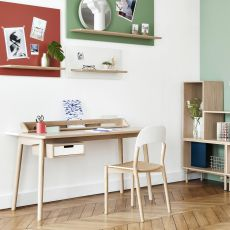 Honoré - Design work desk in wood and MDF, with drawers and compartments