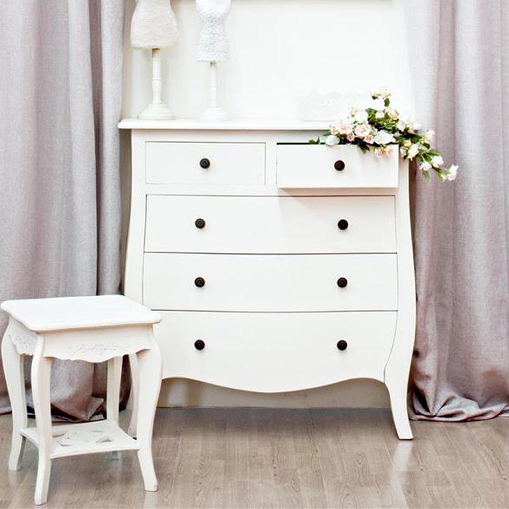margherita 5c commode shabby chic en bois avec cinq tiroirs sediarreda. Black Bedroom Furniture Sets. Home Design Ideas