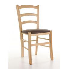 110 - Sedia in legno rustica in offerta, tinta naturale, seduta in similpelle tortora