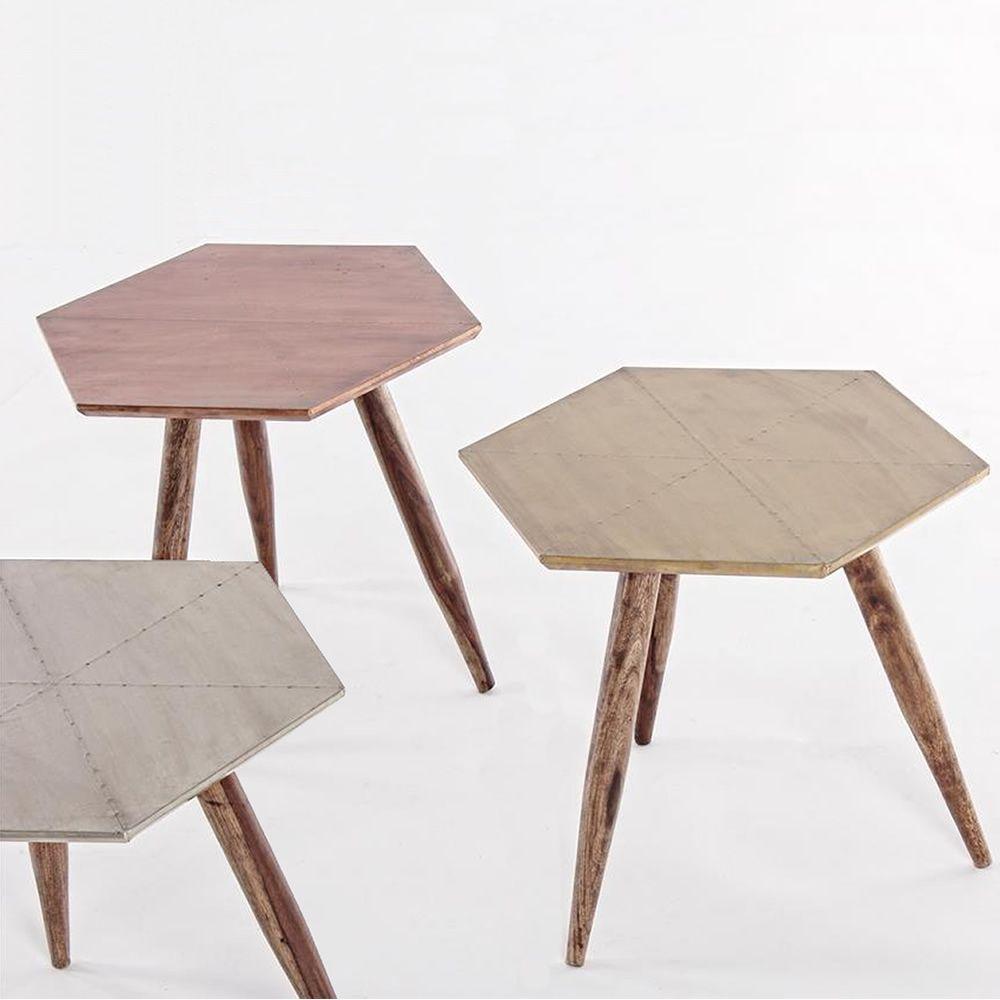 mombasa petite table design en bois avec plateau hexagonale rev tu en m tal disponible dans. Black Bedroom Furniture Sets. Home Design Ideas