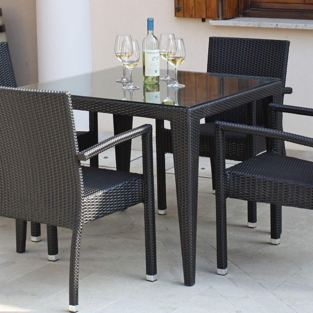 Komodo tavolo in simil rattan per esterno piano in vetro disponibile in diverse misure - Piano tavolo vetro ...
