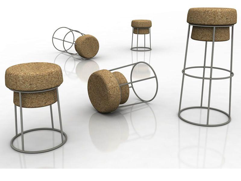 Bouchon b sgabello in metallo con seduta in sughero for Sgabelli di design