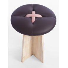 Bottone - Niedriger Hocker auz Holz, gepolsterter Sitz in verschiedenen Farben