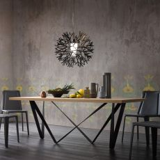 Apollodoro - Design table, fixed 100x200 cm, with metal structure, top in different materials and finishes