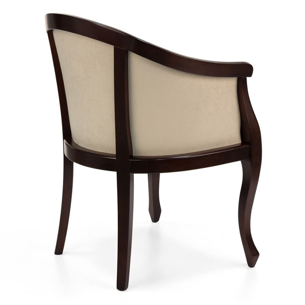 Wooden arm chair -  Vst134 Wood Classic Armchair In Weng Dyed Velvet Covering Code V