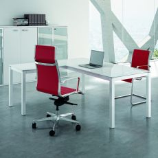 Office X4 02V - L-shaped desk for office, with metal frame and glass top, available in different dimensions and colours