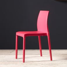 Chloè 2638 - Modern aluminium chair with technopolimery seat, stackable, several colours