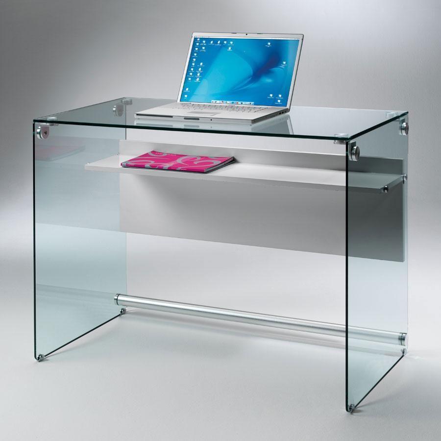 Scriba Bureau en verre transparent avec tablette et jupe en