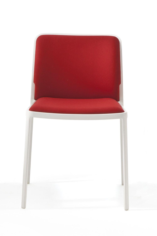 audrey soft chaise design kartell en aluminium avec assise et dossier rembourr s empilable. Black Bedroom Furniture Sets. Home Design Ideas