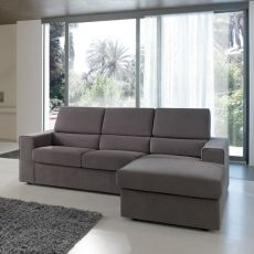 Bounty P - Sofa with reversible chaise longue, totally removable covering, available in several colours