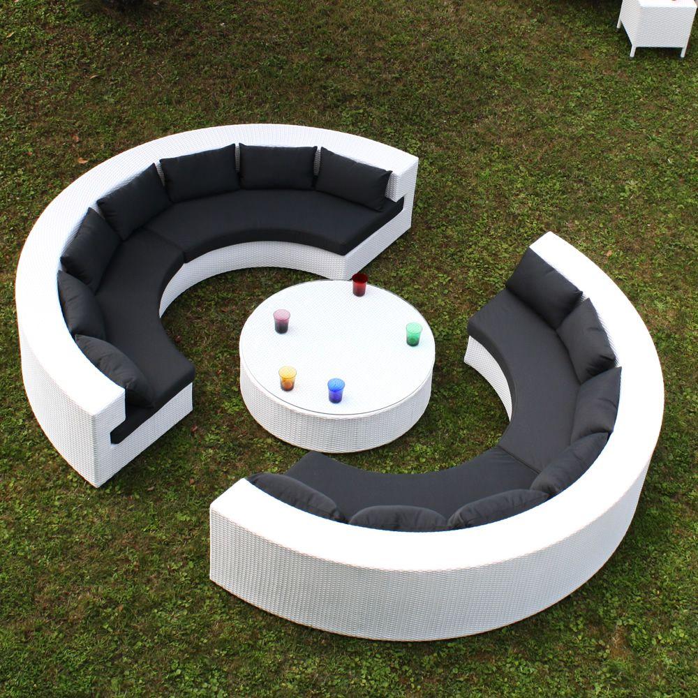 Atollo juego de jard n con dos sof s en forma de for Juego de jardin de ratan