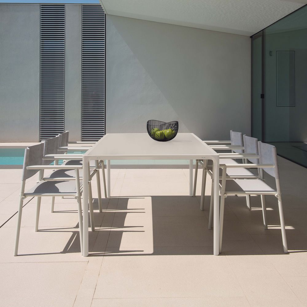 Terramare 738   Metal Table In White Varnished, Matching With Terramare 728  Armchairs