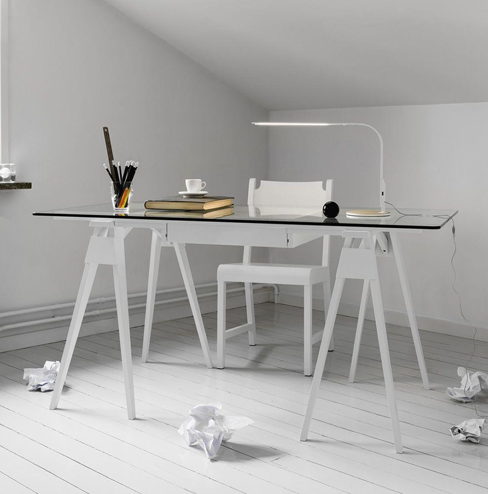 Arco scrivania in legno piano in vetro 150 x 75 cm con for Scrivania design