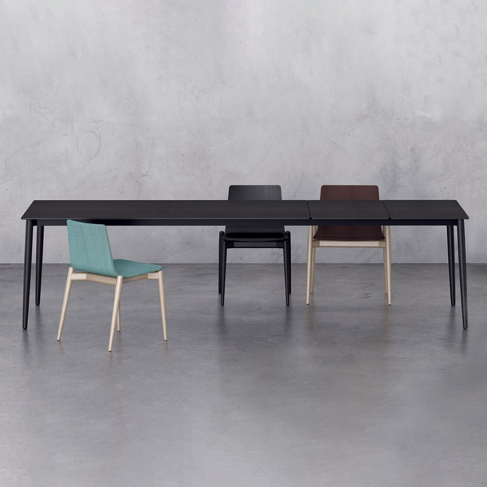 malm table table in black stained ash wood matched with malm 390 chairs - Table Extensible