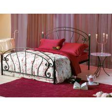 Bolero - Letto matrimoniale in ferro battuto con fregi in ottone brunito e ceramica