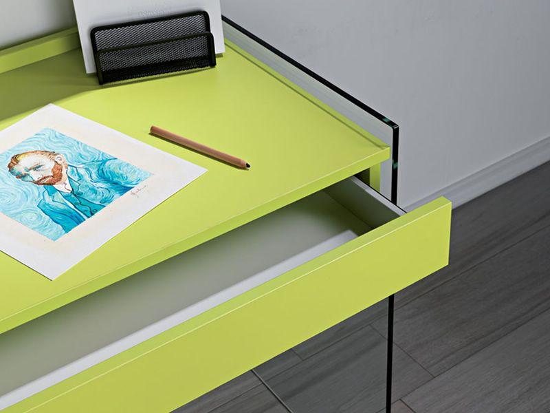 My - Composizione con scrivania in vetro e libreria in laminato - Sediarreda