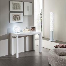 PA40F - Tavolo-consolle allungabile in alluminio, piano 46.5x100 cm in diverse finiture