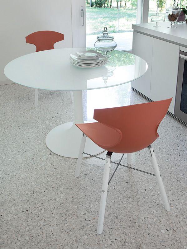 Corona 120 tavolo rotondo domitalia in metallo piano in vetro o mdf diametro 120 cm sediarreda - Tavolo rotondo vetro diametro 120 ...