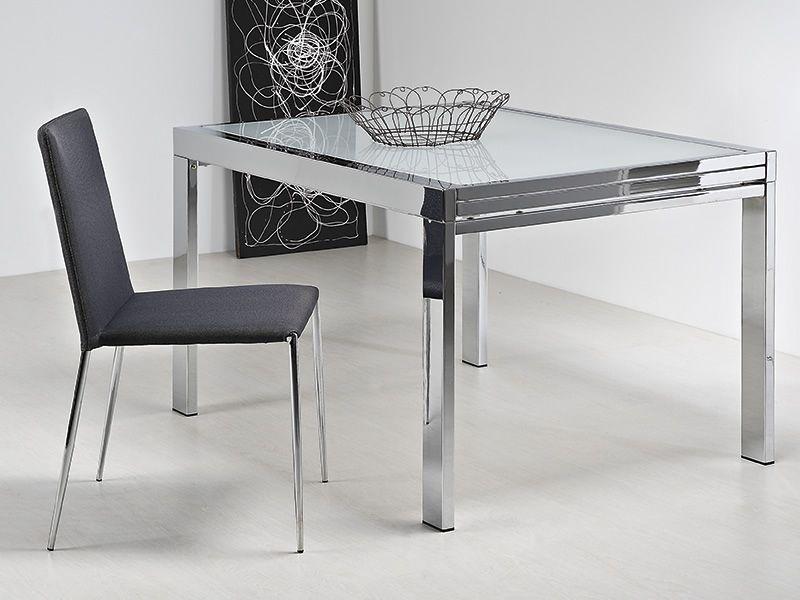 Vr90 tavolo allungabile in metallo con piano in vetro 90 for Tavolo allungabile 80x80