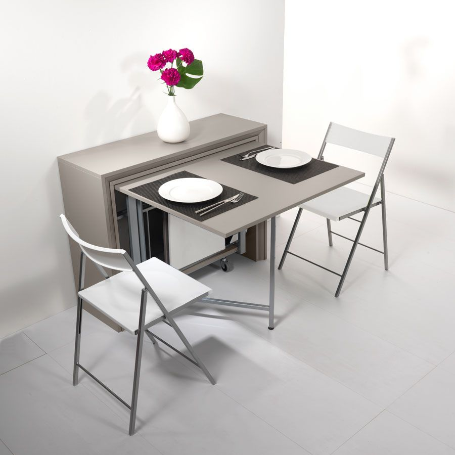 Archimede set console set avec table pliable 170 x 90 cm - Table de cuisine pliante avec chaises integrees ...