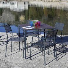 City-T - Ourdoor table in metal, stackable, top in metal or multilayer, 80 x 80 cm