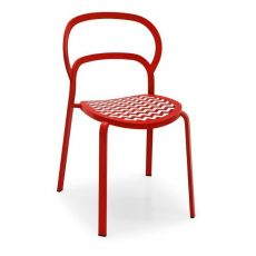 CS1397 Link - Calligaris stackable metal chair, two-coloured technopolymer seat,