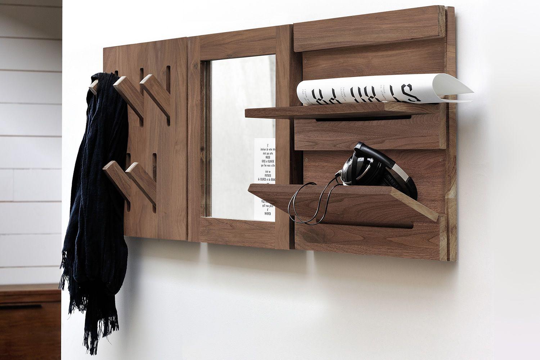 Utilitle h appendiabiti da parete ethnicraft in legno con ganci ribaltabili diverse finiture - Appendiabiti con specchio da parete ...