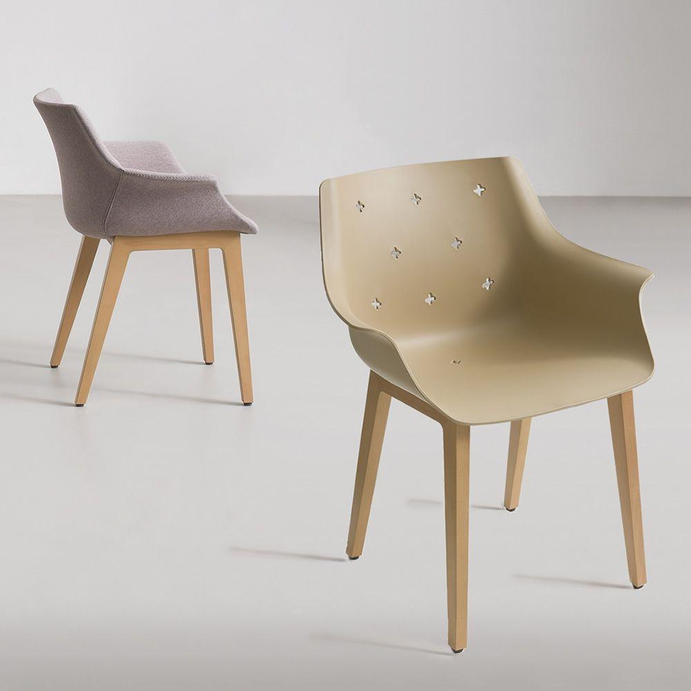 More wood poltroncina moderna con seduta in for Sedie di design in legno