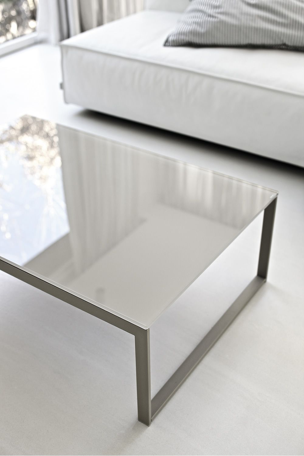 ... Hip Hop Table - Coffee table with sand laquered steel frame, glass top  lacquered glossy