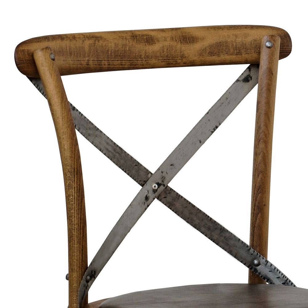 Se06 chaise viennoise en bois avec dossier crois en fer for Chaise fer et bois