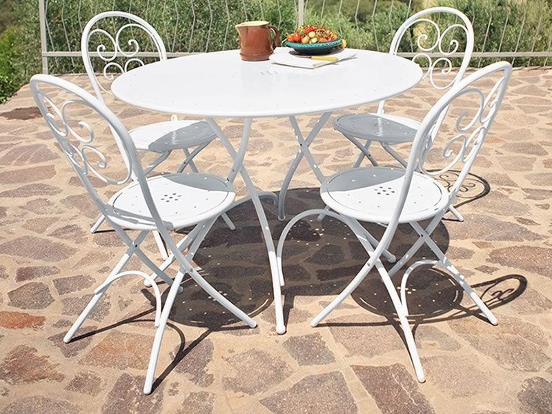 pigalle p - tavolo emu in metallo per giardino, pieghevole, piano ... - Metallo Patio Tavolo E Sedie Rotondo