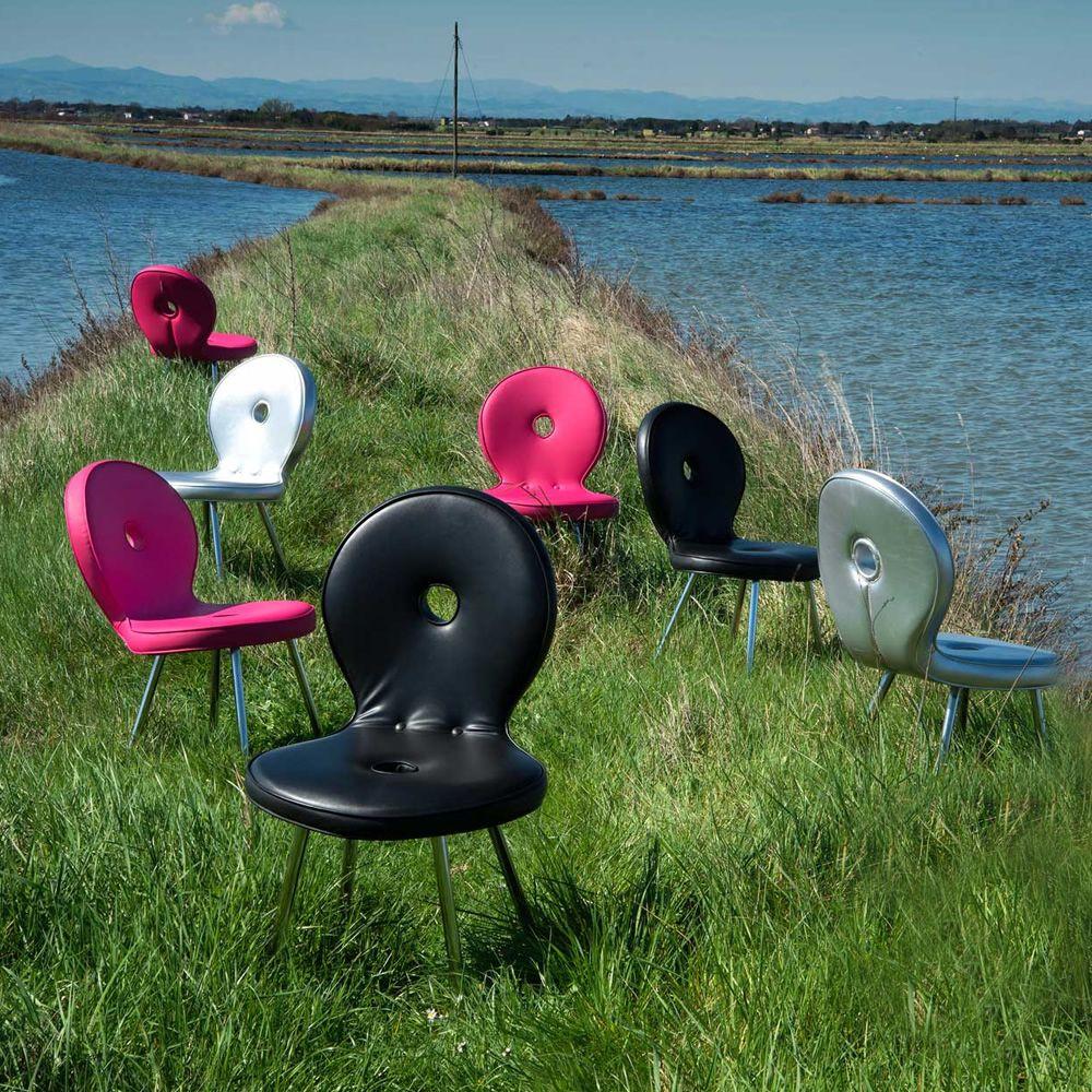 Sedi 39 ola sedia di design adrenalina in metallo con for Sedia di design