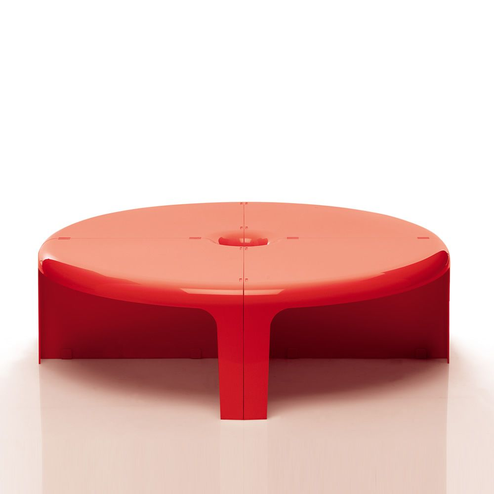 ... 4   4   Modular Coffee Table, Composed Of Four Identical Sections, In  Red