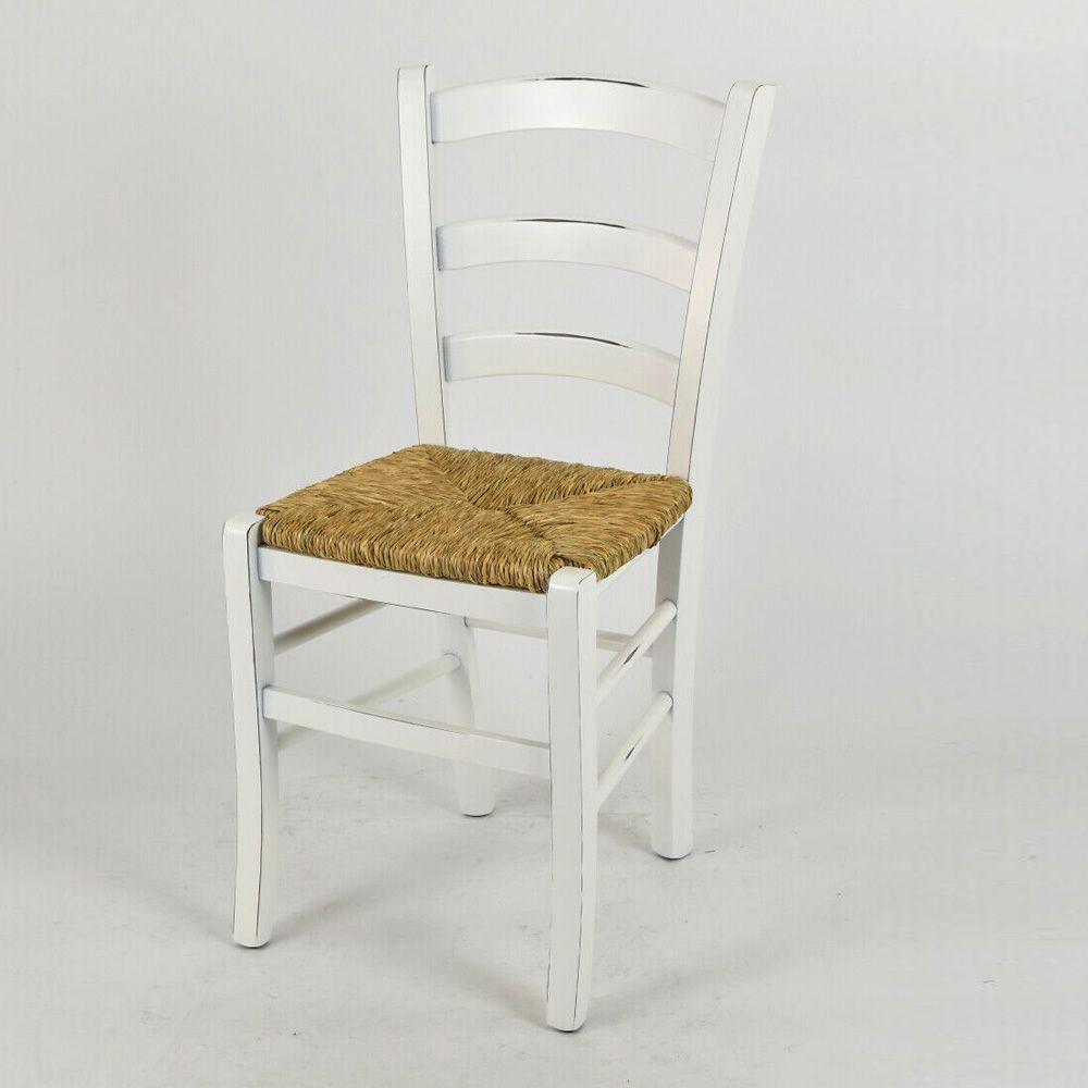 Sedie In Legno Laccate Bianco.110 Sedia Rustica In Legno Laccato Bianco Consumato Con Sedile