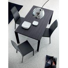 Klass-140 - Tavolo Domitalia in alluminio, piano vetro-ceramica, 140 x 90 cm allungabile