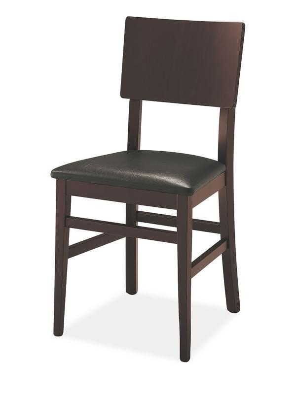 501 silla de madera asiento acolchado y tapizado en eco for Sillas de cocina de madera