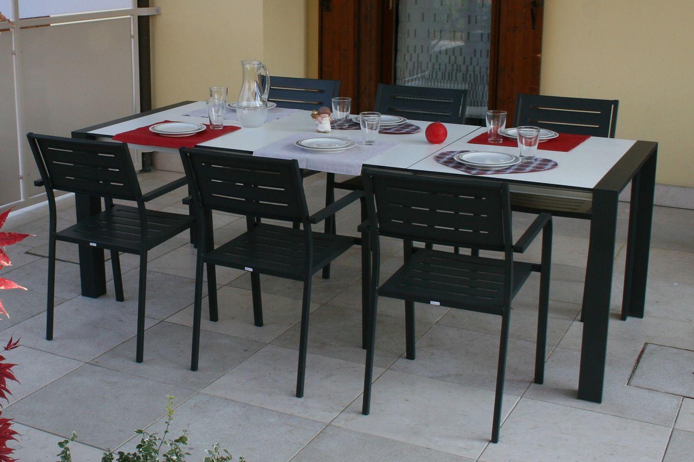 Rig85 Table Extensible En Aluminium Avec Plateau En Hpl 159 X  # Salon De Jardin Plateau Hpl
