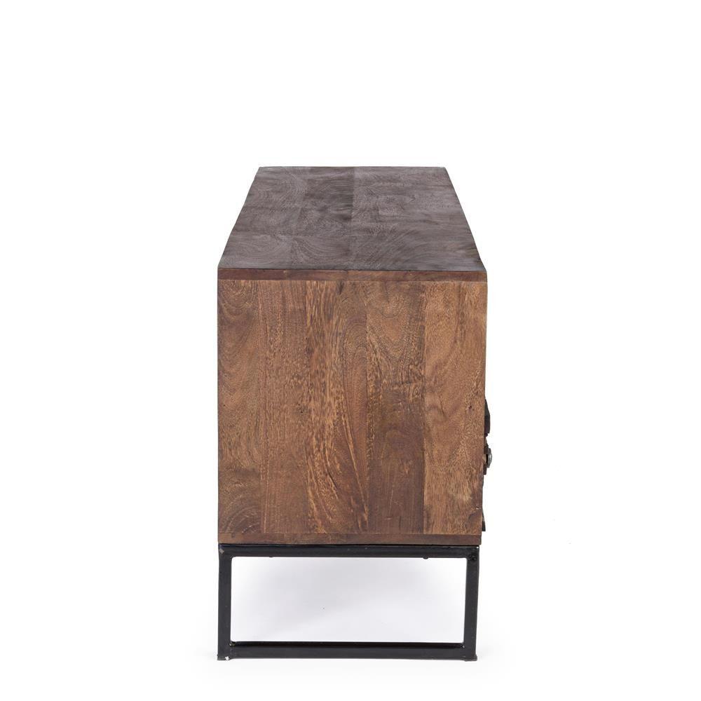 abuja 2c m belst ck vintage f r wohnzimmer aus holz mit eisenbeine mit zwei schubladen. Black Bedroom Furniture Sets. Home Design Ideas