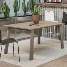 Killeen 42.64 - Table à rallonge, 140 x 90 cm, en métal, avec plateau en verre ou stratifié, disponible en différentes couleurs