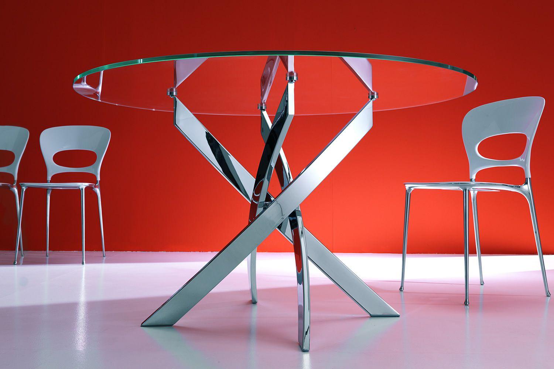Barone tavolo rotondo di design di bontempi casa fisso for Tavolo cristallo rotondo design