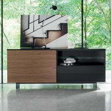 Slide - Dall'Agnese sideboard made of veneered wood, metal feet, different colours available, one door, two drawers and an open compartment